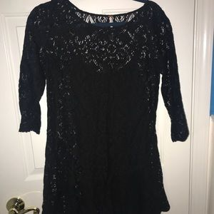 FREE PEOPLE black lace witchy dress